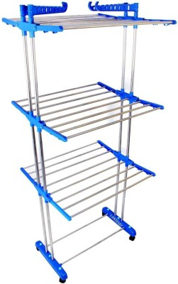 """FAVOUR Double Pole India\""""s Owen manufacturing ,best quality Stainless Steel Floor Cloth Dryer Stand(Blue)"""