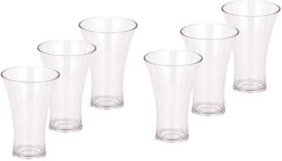 EMPIRE Unbreakable Curved Plastic Glass Set Of 6 JUICY GLASS WATER GLASS Glass Set(Plastic, 300 ml, Clear, Pack of 6)