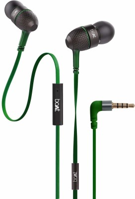 boAt BassHeads 228 Extra Bass with Pouch in Ear Wired (Blue) Wired Headset(Forest Green, Black, Wired in the ear)