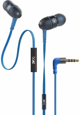 boAt BassHeads 228 Extra Bass with Pouch in Ear Wired with Mic Wired Headset(Blue, Wired in the ear)
