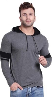 hero & piyush Solid Men Hooded Neck Grey T-Shirt