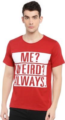 SayItLoud Printed Men Round Neck Red, White T Shirt