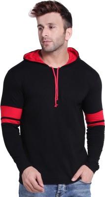 Solid Men Hooded Neck Black T Shirt