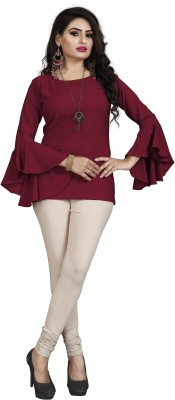 ZUAVI Party Flute Sleeve Solid Women Maroon Top