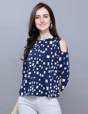 Selvia Casual Cold Shoulder Printed, Geometric Print Women White, Blue Top