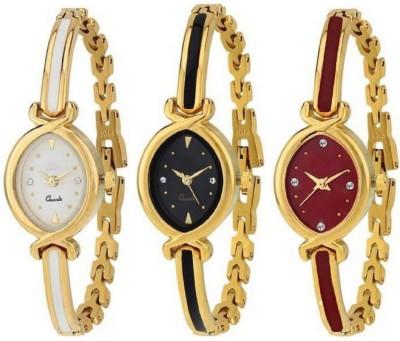 QUEBEC New Oval Stylish Designer Gold Belt Bracelet Dial Golden Bangle 3 combo pack Watch NW-1086 Analog Watch  - For Girls