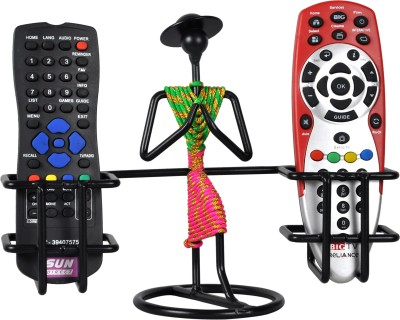 D&V ENGINEERING 2 Compartments Iron Remote control holder /stand /organizer for TV AC DTH STB Remotes for living room showpiece(Black, Green, Pink)