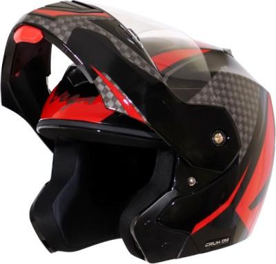 VEGA Crux DX Checks Motorbike Helmet(Black Red)