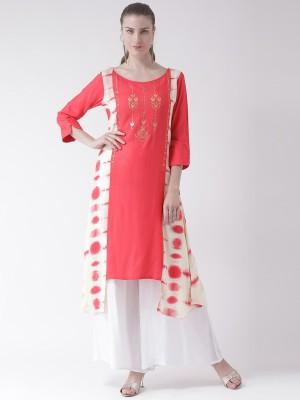 Span Women Printed Asymmetric Kurta(Pink)