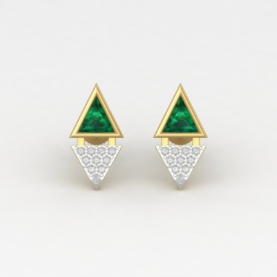 ShipJewel Yellow Gold 14kt Diamond, Emerald Earring Set ShipJewel Earrings