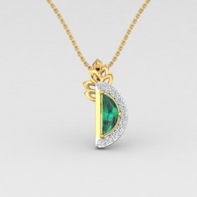 ShipJewel D Emerald Pendant 14KT Gold 14kt Diamond, Emerald Yellow Gold Pendant ShipJewel Pendants   Lockets