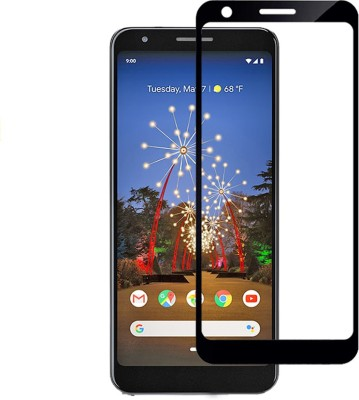 WESTERN COLLECTIONS Edge To Edge Tempered Glass for Screen Protector, Tempered Glass (Black) Designed For :- Google Pixel 3A(Pack of 1)