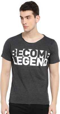 SayItLoud Printed Men Round Neck White, Grey T Shirt
