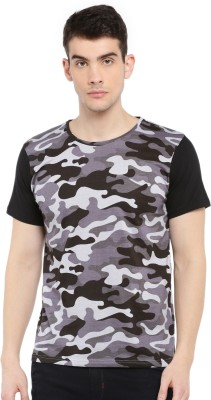 SayItLoud Military Camouflage Men Round Neck Multicolor T Shirt