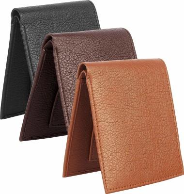 sskk Men Black, Brown, Tan Artificial Leather Wallet(3 Card Slots, Pack of 3)