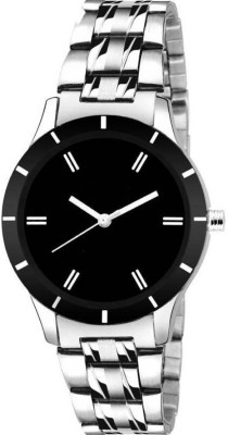 SHOP IN STYLE BLACK DIAL UNIQUE WATCH WITH METAL BELT WATCH FOR MAN SILVER METAL BELT UNIQUE DESIGNER WATCH FOR MAN Analog Watch  - For Men