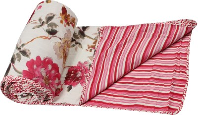 Sanvee Floral Single Dohar(Cotton, Red)