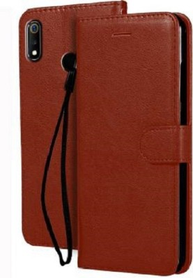 Flipkart SmartBuy Flip Cover for Realme 3 Pro, Plain, Cases(Executive Brown, Dual Protection)