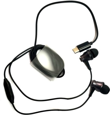 SOUDAMINI In-ear Type-C Premium Earphones Headphones - Black Wired Headset with Mic(Black, On the Ear)