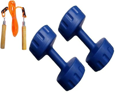 StepInnStore 10*KG (5*KG EACH) PVC Fixed Weight Dumbbell with Skipping Rope Gym & Fitness Kit
