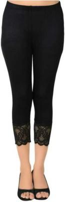 Ratan Cloth Factory 3/4th/Calf Length Western Wear Legging(Black, Self Design)