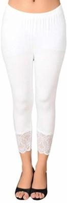 Ratan Cloth Factory 3/4th/Calf Length Legging(White, Self Design)
