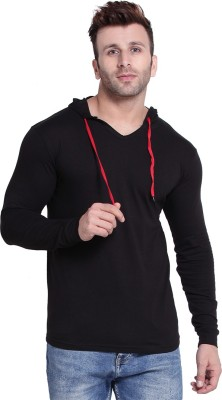 hero & piyush Solid Men Hooded Neck Black T-Shirt