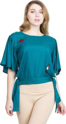 clothvilla Casual Butterfly Sleeve Solid Women Light Blue Top