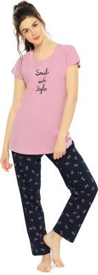 ZEYO Women Printed Pink Top & Pyjama Set