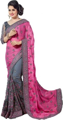 Be4Me.com Embroidered, Self Design Fashion Cotton Silk Saree(Pink)