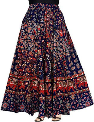 Frionkandy Floral Print Women Flared Multicolor Skirt