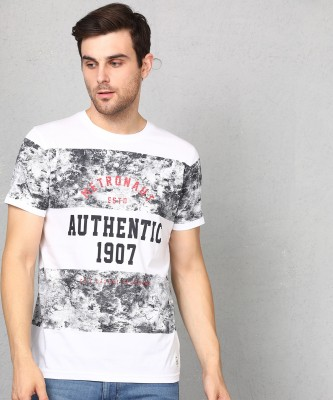 Metronaut Printed Men Round Neck White T-Shirt