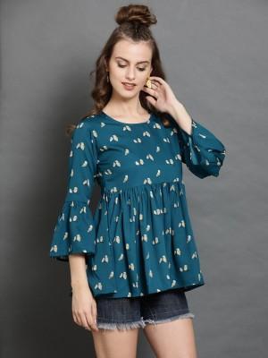 DARZI Casual Bell Sleeve Printed Women Multicolor Top