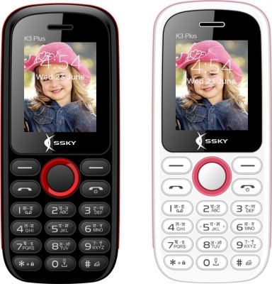 Ssky K3 Plus Combo of Two Mobiles(Black&Red$$White&Pink)