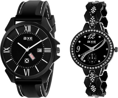 AXE Style AXE Presents All Black 2 Watch Combo For Beautiful Couple C027 For Boy