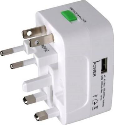 NKZ All in One Universal International Plug Adapter World Wide Travel AC Power Charger Adaptor Worldwide Adaptor White