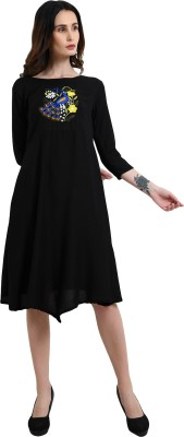 Addyvero Women A line Black Dress