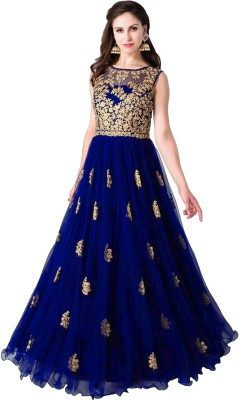 color bucket Net Embroidered Gown/Anarkali Kurta & Bottom Material(Semi Stitched)