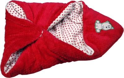 Babysta Polka Crib Hooded Baby Blanket(Woollen Blend, White, Red)