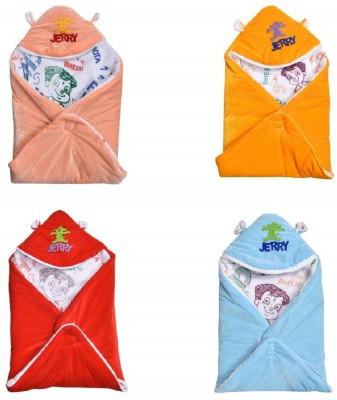 Innovative edge Solid Single Hooded Baby Blanket(Woollen Blend, Orange, Red, Blue, Peach)
