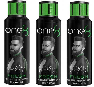 One 8 Fresh Perfume Body Spray For Men 200ML Each (Pack of 3) Perfume Body Spray - For Men(600 ml, Pack of 3)