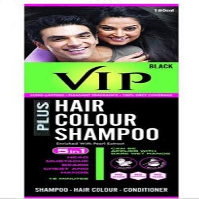 VIP BLACK HAIR COLOR SHAMPOO WITH ANTI AGEING SEA SOAP Hair Color(BLACK)