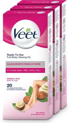 Veet Normal Skin Full Body Waxing Kit Strips(60 Strips, Set of 3)