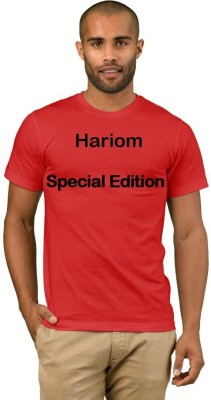 Exoctic Silver Printed Men Round Neck Red T-Shirt