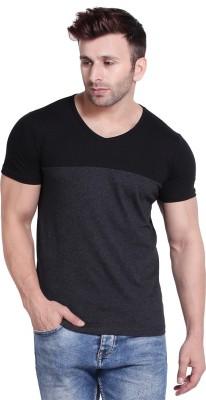 Bi Fashion Color Block Men V Neck Black, Grey T-Shirt