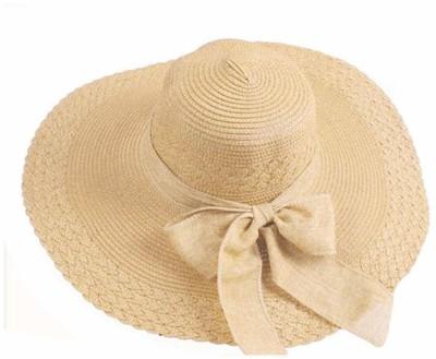 Futurekart Straw Sun Hat Wide Large Brim Beach Floppy Oversize Fold Cap (Beige)(Beige, Pack of 1)
