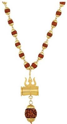 Craft Mart 5 Mukhi Gold Capping Rudraksh Mala with Shiv Shakti Kawach Damru And Trishul Brass Pendant Set Brass, Wood Chain Set