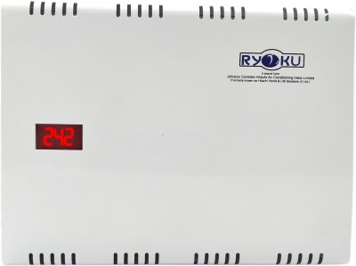 Hitachi With Digital Voltage LED DIsplay For A/C-RYOKU ( A HITACHI Product) 4kv 3yrs REPLACEMENT Warranty Double Booster Voltage Stabilizer(White)