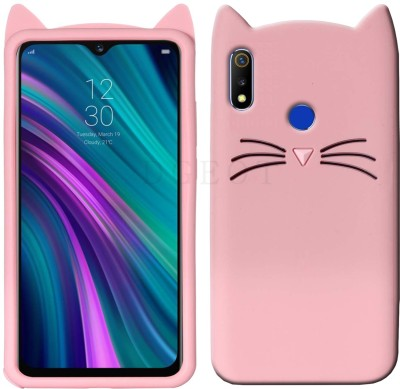 Dgeot Back Cover for Realme 3i (Diamond Red, 64 GB) (4 GB RAM)(Cute 3D Smile Cat Ear Kitty Shockproof Silicone Case ♥Pink♥, Dual Protection)