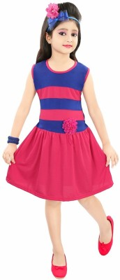 ADITI FAB Girls Midi/Knee Length Casual Dress Pink, Sleeveless ADITI FAB Kids\' Dresses